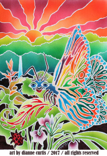 ACEO Art Print from original airbrush painting dcurtis SFA Tropical Butterfly