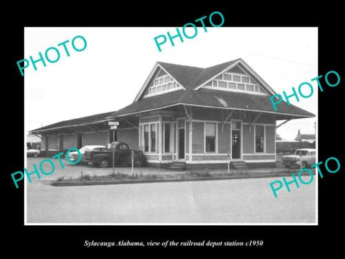 OLD 6 X 4 HISTORIC PHOTO OF SYLACAUGA ALABAMA, THE RAILROAD DEPOT c1950