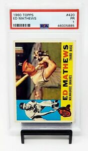 1960-Topps-420-HOF-Milwaukee-Braves-EDDIE-MATHEWS-Baseball-Card-PSA-1