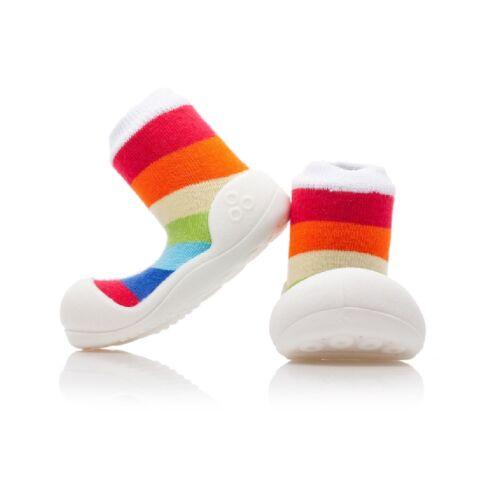Attipas Arco Iris Blanco Descalzo Zapatos De Los Niños Diversión elegante prewalkers Suela Antideslizante