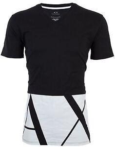 Armani-Exchange-HEM-PRINT-Mens-Designer-T-SHIRT-Premium-BLACK-Oversized-Fit-45