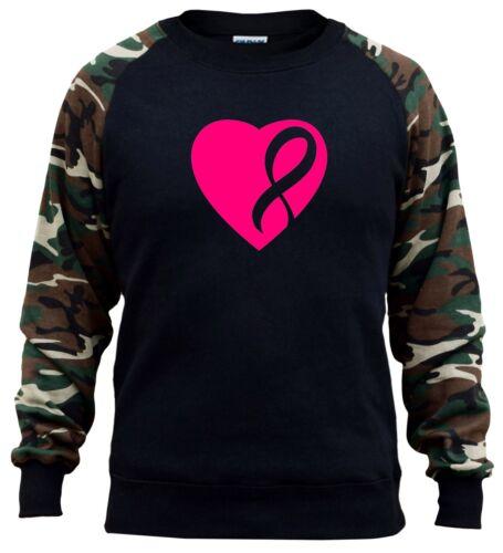 Men/'s Pink Heart Breast Cancer Ribbon Camo Raglan Sweatshirt Support Hope V391