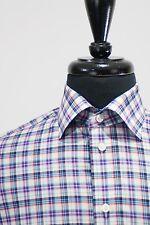 Eton Purple Plaid Contemporary Fit Shirt 16.5 5780
