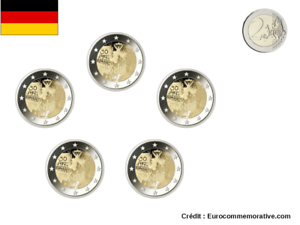5 Ateliers 2 Euros Commémorative Allemagne 2019 Mur de Berlin UNC
