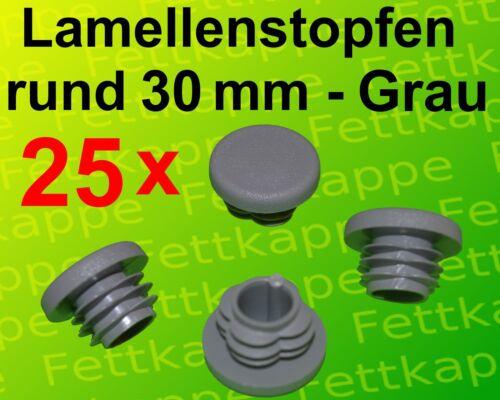 WS 2,5 bis 4,5 mm 25 Lamellenstopfen Grau Ø aussen 30 mm Rundrohrstopfen