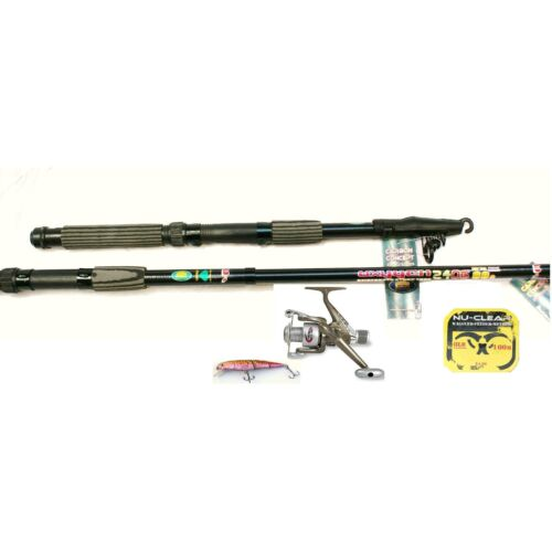 10ft TELESCOPIC FISHING ROD AND REEL SET FOR PIKE OR SEA FISHING KITCOMBO