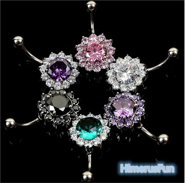 Fashion Crystal Ball Belly Navel Button Bar Ring Barbell Body Jewelry Piercing