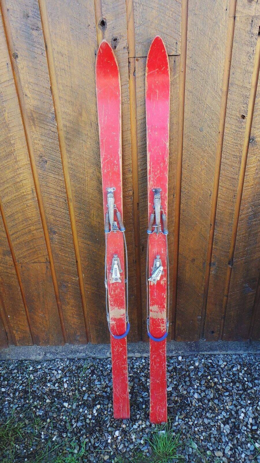 GREAT OLD Wooden Skis 59  Long With Has RED Finish Great for Decorating