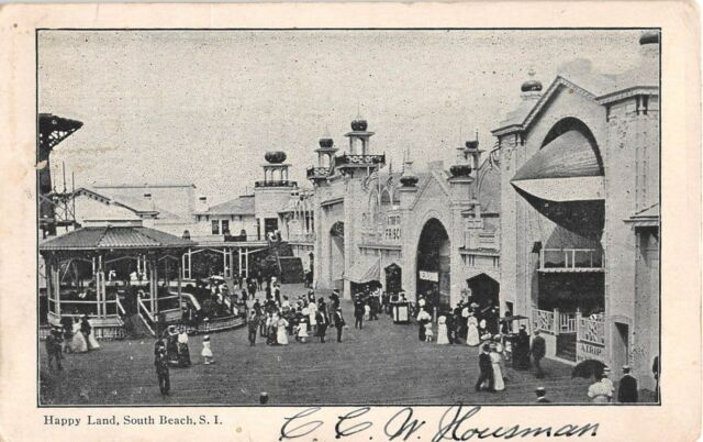 1906 Happy Land South Beach NY postcard Staten Island Amusement Park