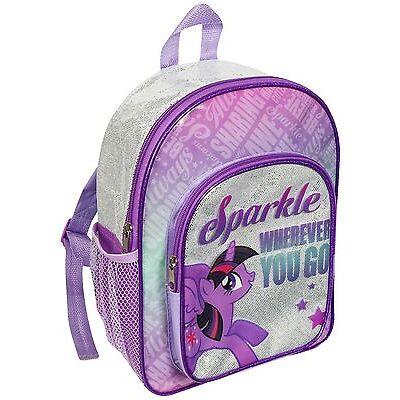 MY LITTLE PONY GLITTER BACKPACK RUCKSACK GIRLS SCHOOL ADJUSTABLE ZIPPED POCKETS