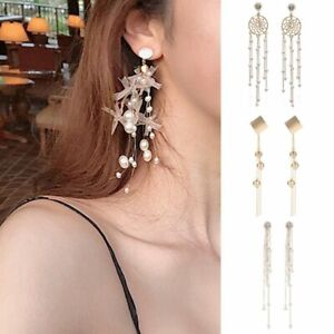 Women-Long-Tassel-Crystal-Rhinestone-Ear-Stud-Drop-Dangle-Earrings-Jewelry-Gift