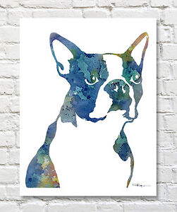 BOSTON TERRIER Contemporary Watercolor ART Print by Artist DJR