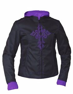 Women's Motorcycle Nylon Textile Jacket With Reflective Tribal Cross Details