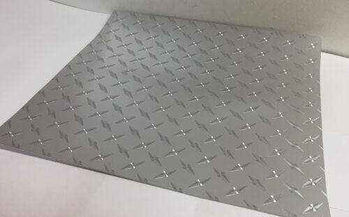 FREE USA SHIPPING Long-Life Silver Diamond Plate Sign Vinyl  24 Inch x 10 Feet