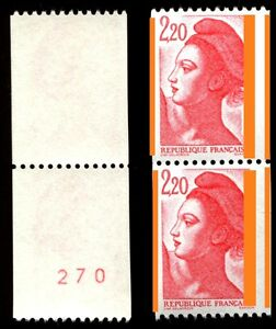 TIMBRE-VARIETES-LIBERTE-2-20-ROUGE-Rlette-N-Yvert-2379-L50L-M-N