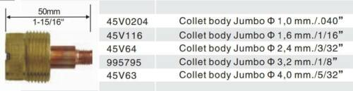 "2 pcs 995795  Large Gas Len Collet Bodys for Tig Torch WP-17//18//26 3.2mm 1//8/"""