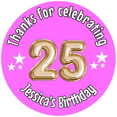 Sito Ufficiale Personalised Gloss 25th Festa Di Compleanno Favore Etichette, Adesivi Di Ringraziamento Qualsiasi Età- Ottima Qualità