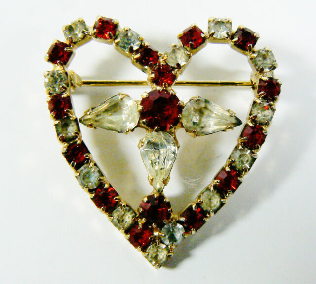 Vintage Silver tone Red & Clear color crystal rhinestones Heart  Pin Brooch