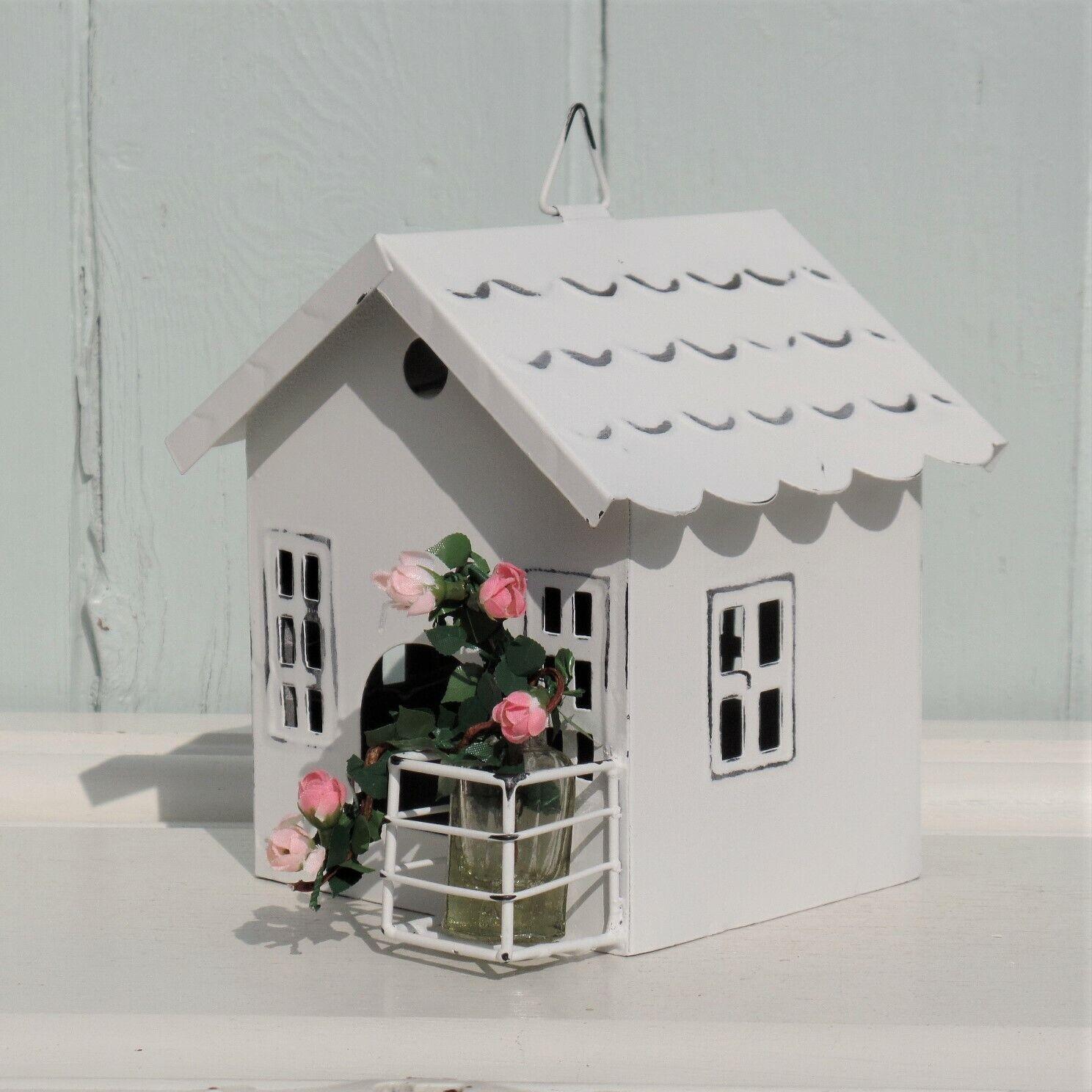Windlicht Laterne Teelichtglas Weiß Garten Sahbby Vintage Landhaus Deko 2 Größen