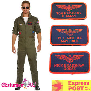 Mens-Aviator-Costume-Pilot-Flight-80s-Film-Top-Suits-1980s-Men-3-Tags-Iceman
