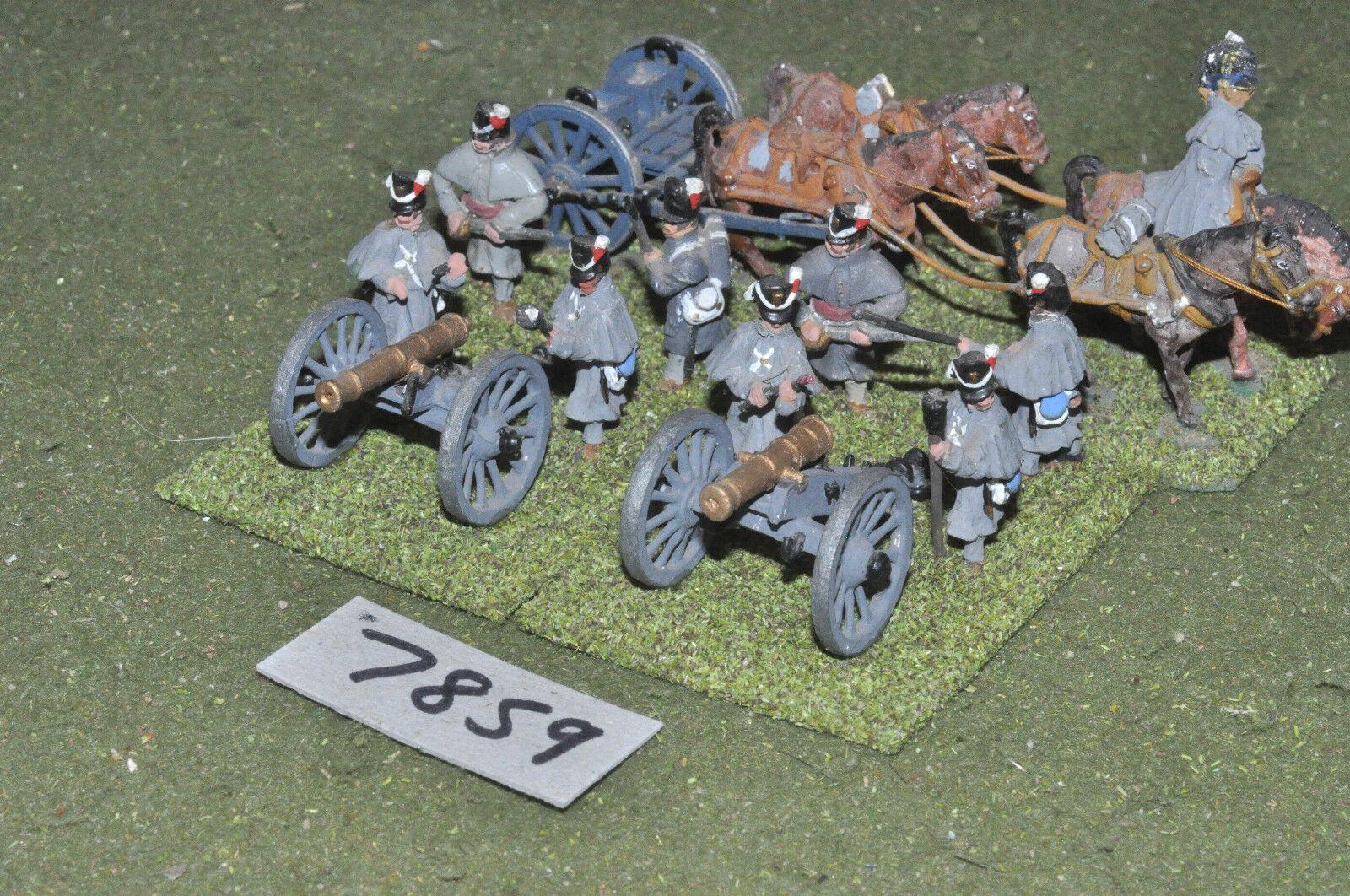 25mm napoleonic   british - artillery 2 guns limber painted metal - art (7859)