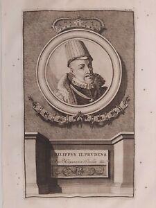 1704 Aguafuerte Van der Aa Retrato Felipe II Rey de España Sicilia Philippus II