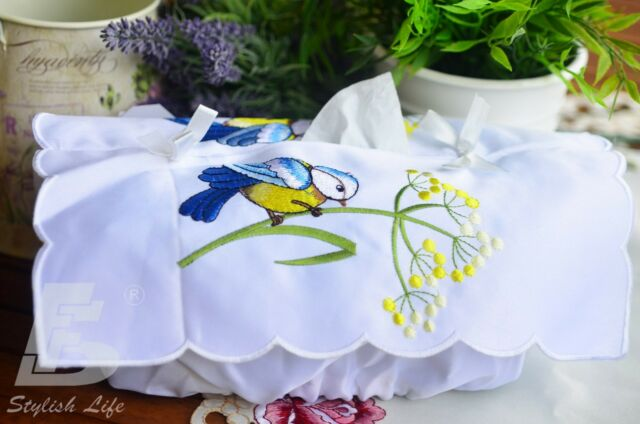 Tissue Box Cover, Embroidered  Flowers, FFD026