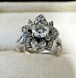 Details about KAY Jewelers 14kw Flower Diamond Ring size 6 5