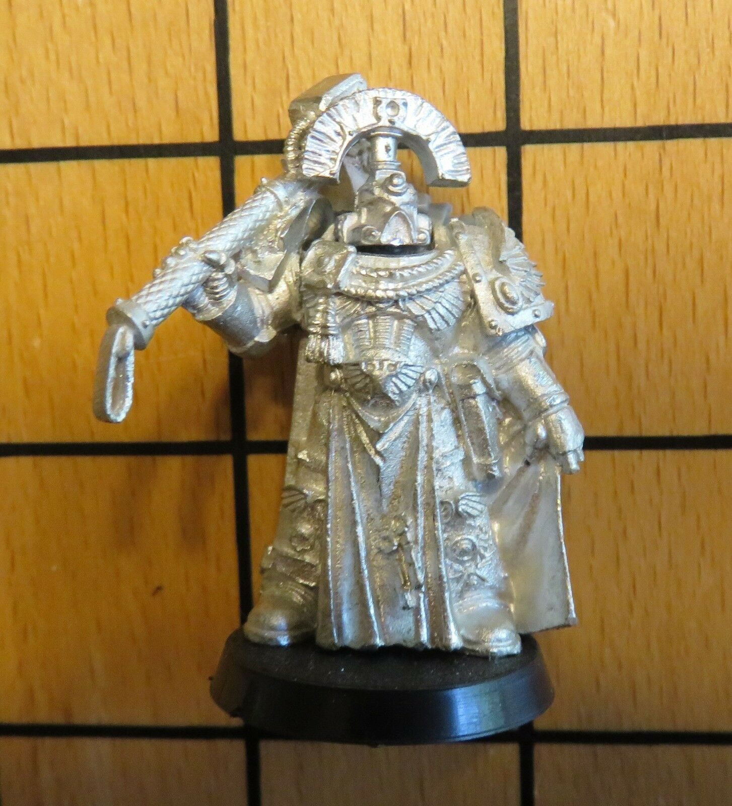 40k Rare oop Vintage Metal Space Marine Veteran Veteran Veteran Captain w Power Hammer Maul b31724