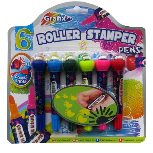 Pack of 6 Tinsel Town Christmas Roller Stamper Pens Double Ended