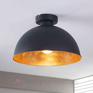 Deckenleuchte Lya Schwarz Gold Lampenwelt Wohnzimmer Deckenlampe Indirekt