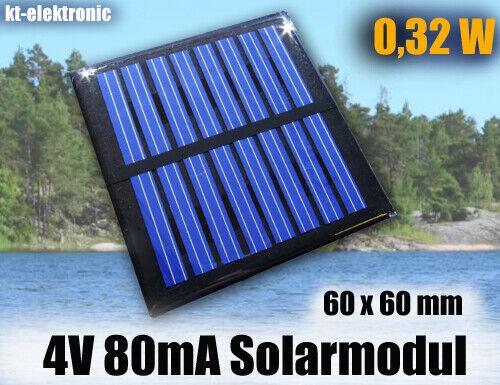 1 Stück 4V 80mA 0,32W 60x60mm Solarmodul Solarzelle Solarpanel vergossen