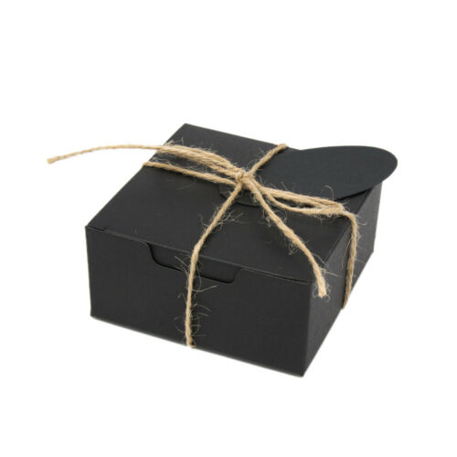ECO KRAFT Small Square Natural GIFT BOXES Wedding FavourIncludes String//Tags