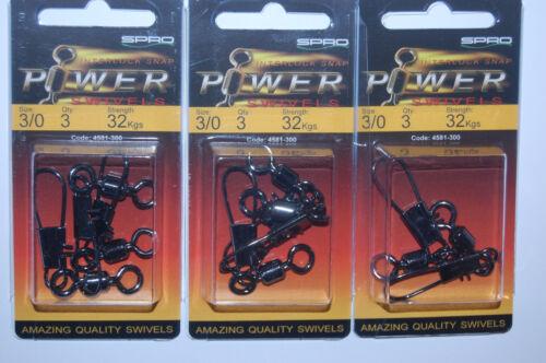 4581-300 70lb 3 packs quality spro power swivels interlock snap size 3//0 32kgs