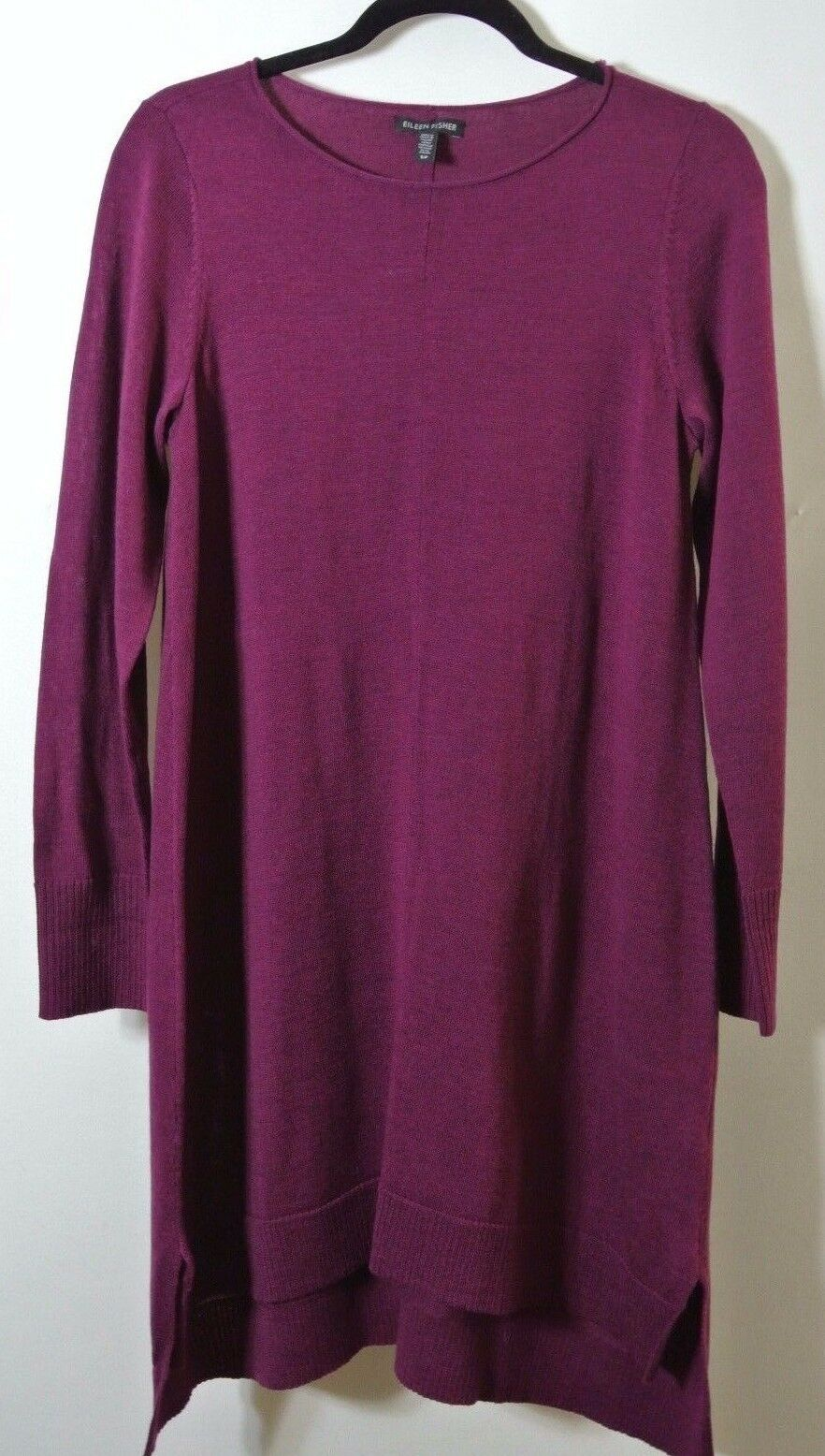 NEW Eileen Fisher Merino Wool Sweater Dress Dark Purple Size S