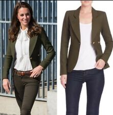 Smythe Duchess One Button Blazer Olive Army Green Linen Kate UK4/US0
