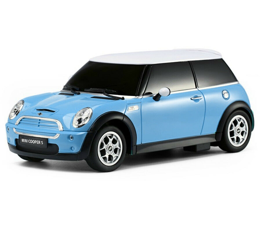 1:14 Mini Cooper S RC Car Remote Control Offical Licensed With Lights blu Nuovo