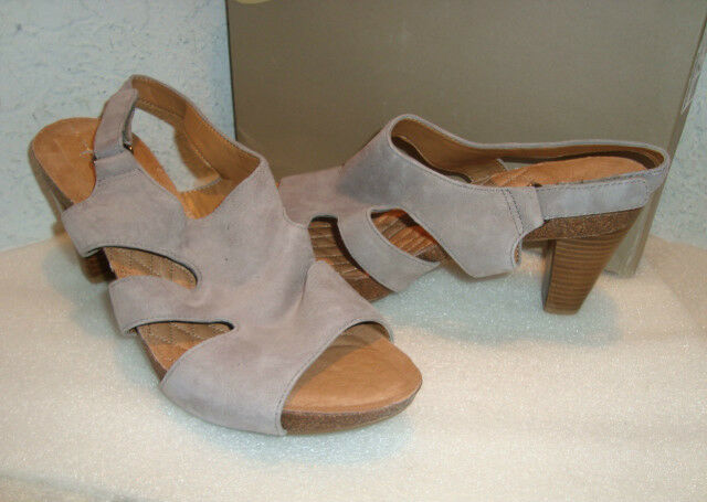 Easy Spirit Womens NWB Hanson MED Gry Suede Sandals shoes 8.5 MED NEW