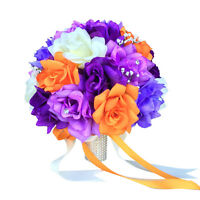 10 Bouquet - Purple, Orange, Ivory Artificial Rose Bouquet, Wedding Bouquet