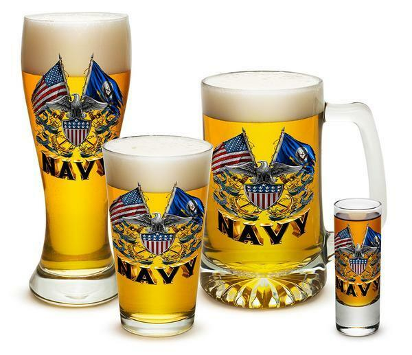 U.S. Navy Bar Drinking Glass Collector Set- 4 pc Set