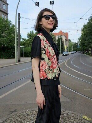Damen Weste Baumwolle Rosen 80er Truevintage 80s Ladies Veste Cotton Roses