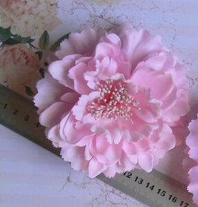 Delicate-LightPINK-Flower-BROOCH-PIN-with-HAIR-CLIP-Ready-to-wear-Fabric-10-11cm