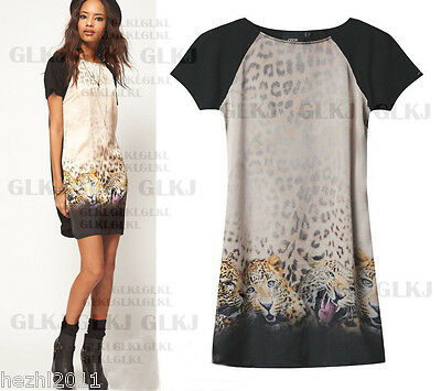 Women Sexy Short Sleeve Leopard Print Bodycon Cocktail Evening Party Mini Dress