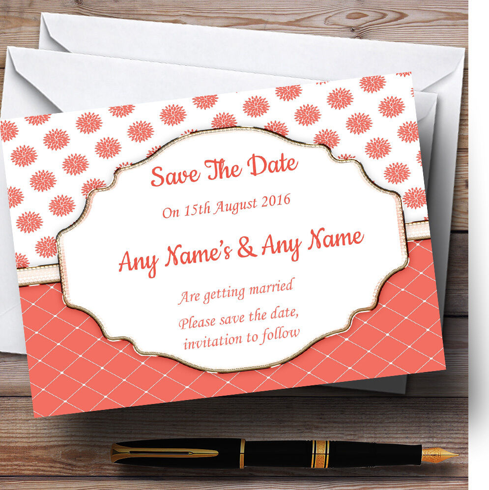 Coral And Weiss Flowers Quilt Personalised Wedding Save The Date Cards 059702