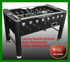 Calcio-Balilla-ORIONE-aste-rientranti-vetro-temperato-CALCETTO-BILIARDI