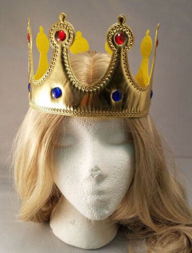 Gold Jeweled King Queen Crown Gold with Gems Adult Size Renaissance