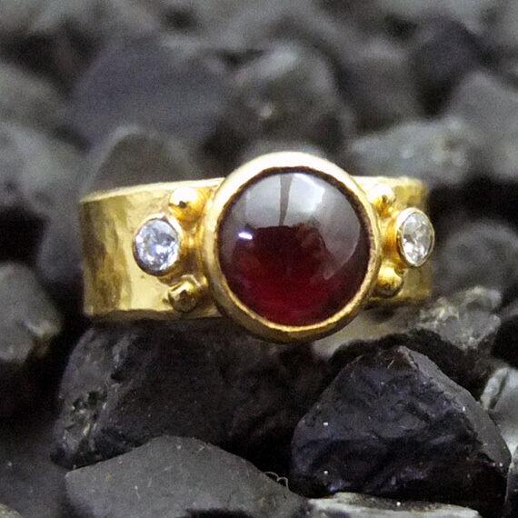 Handmade Hammered Natural Garnet Ring With Topaz 22K Gold over Sterling Silver