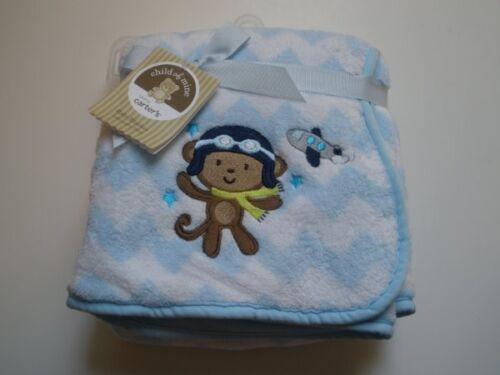 NWT Carters Child Of Mine Blue Chevron Striped Pilot Monkey Airplane Blanket