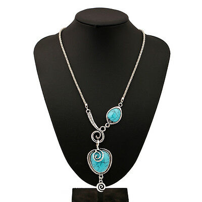 Womens Bohemian Silver Plated Snails Turquoise Pendant Chain Statement Necklace