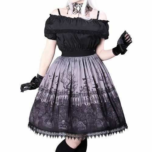 Restyle Graveyard Grey Ombre Lace Flared Black Elegent Gothic Lolita Skirt